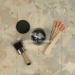 gf-styled-photo-new-WATER-BASED-WOOD-STAIN-colors-topdown-open-can-graphite-lid-brush-clingon-stir-sticks-v1-WATERMARKED-general-finishes-2019